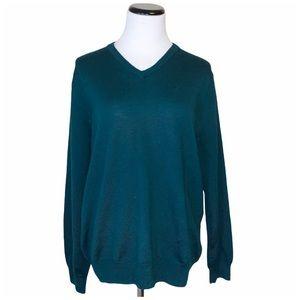 J Crew mens slim merino wool v-neck sweater large